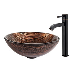Kraus - Kraus Gaia Glass Vessel Sink and Ramus Faucet Oil Rubbed Bronze - *The copper-brown hue of the Gaia sink gives it an earthy appeal, while the layered texture highlights the handcrafted artistry of the glass. Pair it with the minimalist form of the Ramus faucet in oil-rubbed bronze for a hint of vintage flair