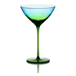 Vague Glass Martini Glass - An enchanting blend of blue and green glass, the Vague Glass Martini Glass inspires daydreams of cool summer evenings when daylight and twilight mingle on the horizon in a captivating wash of color. A perfect vessel for enjoying liquid refreshment as you relax at end of day or for serving guests a cool libation.