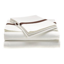 """Hotel Collection Cotton 300 Thread Count King Sheet Set White/Chocolate - A hotel luxury way to decorate your bedroom with a 300 Thread Count Sheet Set. The perfect complement to a guest bedroom or master suite! These 300 thread count sheets of premium long-staple cotton are """"sateen"""" because they are woven to display a lustrous sheen that resembles satin. Coordinate with our Hotel Collection Duvet Cover Sets and Bed-skirts! Set includes One Flat Sheet 108x102, One Fitted Sheet 78x80, and Two Pillowcases 20x40 each."""