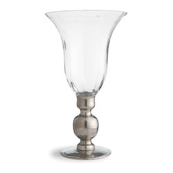 Arte Italica - Giovanna Vase with Pewter Stem - A perfect pairing of glass and pewter, this shapely piece works as a vase or, inverted, a cloche. Handmade in Italy, it brings a stately elegance to your favorite setting.