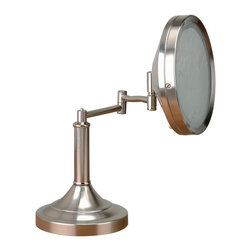 Lite Source - Lite Source Vogue Magnifying Table Mirror Lamp XSL-SP5943 - From the Vogue Collection, this Lite Source magnifying mirror lamp features a clean rectangular frame, subtle curvature and a straight stem. The stem is attached to the a rectangular base plate with beveled detailing, while the entire body has been finished in a clean Polished Steel hue.