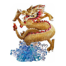 Swarovski - Swarovski Myriad Longwang Dragon - Swarovski Myriad Longwang Dragon  -  Size: 11.45 inches wide x 14 inch tall  -  Created with the Swarovski-exclusive Pointiage technique  -  Over 490 hours are required to create this incredible piece  -  Celebrating the Year of the Dragon 2012, this breathtaking Numbered Limited Edition presents the Chinese dragon, a symbol of power, wisdom and luck.  -  Longwang, meaning king of the dragons, glitters in rich golden and red tones with 66,219 hand-set crystals  -  Sparkling in shades of blue, the polished crystal base represents the dragon's habitat, the sea.  -  Limited to 888 pieces, this unique masterpiece is only crafted on demand and comes with a certificate of authentication.  -  The shipping procedure includes insurance and a delivery notice.   -  Made In Austria.  -  Part of the Swarovski Myriad Collection  -  Swarovski Crystal Item Number: 1096974
