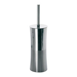 Gedy - Round Chrome Toilet Brush Holder - Decorative, rounded free standing toilet brush holder with bristle brush.