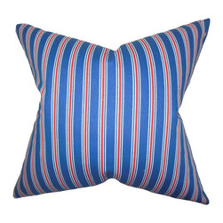 """The Pillow Collection - Corliss Stripes Pillow Blue 18"""" x 18"""" - Bold and rich, this throw pillow offers a deep ambiance to your home. Finished off with a classic stripe pattern in shades of blue, red and white.This accent pillow is perfect for your sofa, bed or seat. Made for indoor use, this 18"""" pillow is crafted using 100% soft cotton material."""