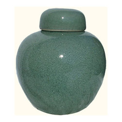 """n/a - 8""""H Chinese Porcelain Ginger Jar with Celadon Green Glaze - This classic shaped 8"""" high decorative Chinese porcelain ginger jar is distinguished by its crackle and celadon green glaze. This unique item is a two piece set (lid and jar) imported by us from a family run and award winning monochrome porcelain company in southern China.  This handmade object is finished in antique crackle glazing in a traditional Chinese green color. The almost jade like hue is cherished thru out the world for its soothing color. Enhance its presentation with one of our oriental rosewood stands available in a variety of styles and sizes (including pedestal). We recommend a 4"""" flat rosewood stand."""
