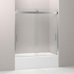 "KOHLER - KOHLER Levity Sliding Bath Door with Handle and 1/4"" Crystal Clear Glass - KOHLER K-706000-L-SH Levity Sliding Bath Door with Handle and 1/4"" Crystal Clear Glass in Bright Silver"