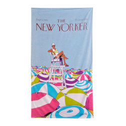 "Grandin Road - The New Yorker On Duty Beach Towel - Large, colorful beach towel featuring the ""On Duty"" cover from The New Yorker magazine. Made of 100% ring-spun cotton, woven to 450 gsm. Generous 40"" x 70"" size. Reverses to a solid-color hot pink back. Preshrunk cotton ensures towel retains its full size. Bring a vintage cover from The New Yorker to the beach, in the form of a soft terry cloth towel, featuring the ""On Duty"" cover from September 2, 1972. Artist Charles Saxon's brilliant scene depicts a lifeguard in his chair, towering above a sea of open umbrellas. Make this generously sized, soft and colorful terry towel your mark along the sandy shore - or give one as a gift; check out all the designs in The New Yorker Beach Towel collection.. . . . . Double-stitched along all edges for durability. Machine wash cold, tumble dry low. Wash with like colors in cold water; do not bleach. Imported."
