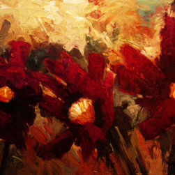 Three Reds (Original) by Kanayo Ede - Oil on canvas painting, three stylized red flowers, almost abstract in design looks and texture. Comes on a gallery wrap canvas ready to hang and enjoy right out of the box.