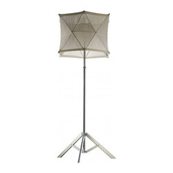 Diesel Lighting - Tri-P Adjustable Floor Lamp - Tri-P Adjustable floor lamp featuring a fabric shade with an anodized metal finish is a nomadic, quick-change object of contemporary mobility. Diesel and Foscarini unite to create lighting that speaks a multiple of languages and expresses unmistakable style. Available in white and blue fabric shades. One 30 watt, 120 volt, medium base compact fluorescent lamp not included. General light distribution. Shade is 14 inches high. Base adjusts from 17.75 to 24.25 inches, lamp height adjusts from 55.13 to 70.88 inches.