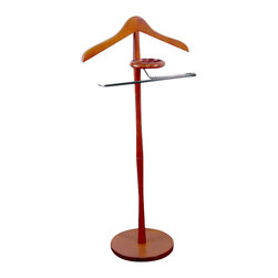 Proman Products - Proman Products Oxford Chrome Valet in Cherry - Proman Products - Valet Stands - VL16073 - Oxford Wardrobe Valet is a simple yet elegant way to keep your clothes wrinkle-free. It has a jacket hanger a round tray to store change and PVC covered pant bar to prevent pants and ties from slipping. It's finely crafted and constructed with solid wood and chrome hardware to ensures years of enjoyment from this sturdy furniture piece.