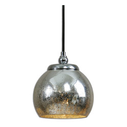 Uttermost - Navarre Mini Pendant - It may be mini in size but this glass pendant has maximum impact. The distressed mercury glass is accented with polished nickel plate so you will love its deceiving simplicity. If you have a contemporary kitchen hand three of these above your island. If you don't, hang a couple somewhere anyway.