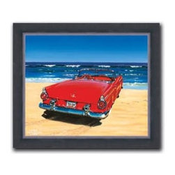 """Mark Peterson - 55 T-Bird 13 x 16 Print - """"'55 T-Bird"""" is a canvas giclee of the antique automobile by Mark Peterson. We present this to you in a 2"""" contemporary, faux black leather frame. This makes an overall framed size of 13 x 16."""