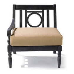 Grandin Road - Yorkshire Left-facing Armchair - Elegantly detailed modular outdoor sectional. Crafted from solid hardwoods. All-weather urethane finish. Components securely bolt together so they won't shift. Annual urethane application recommended to preserve the classic look. Create an open-air sanctuary in the garden or on the patio: the distinctive openwork design and smooth, slatted surfaces make each piece of our modular Yorkshire sectional a pleasure from every angle. With this versatile design, it's possible to update your outdoor space by changing the layout or cushion colors with each season. So go ahead: select your combination, finish color and cushions and get ready to relax and entertain with outdoor furniture that fits your style and budget, perfectly. . . . . . Simple assembly. Add an extra layer of comfort with our custom all-weather cushions (sold separately). All pieces coordinate perfectly with the Paxton Yorkshire Outdoor Collection. A Grandin Road exclusive.