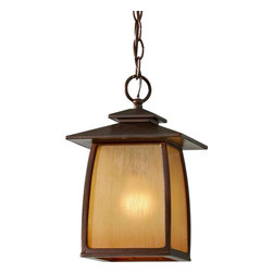 Murray Feiss - Murray Feiss Wright House Transitional Outdoor Hanging Light X-RBS1158LO - Decorate with a piece unlike any other, such as with this Home Solutions Wright House Transitional Outdoor Hanging Light. It has a stately appearance, with its simple, aluminum frame in a rich and warm sorrel brown finish that perfectly complements the striated ivory glass panels. It's a bold and handsome piece that's sure to cast a warm and natural hue of light in any room.