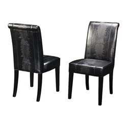 Four Hands - Horizon Dining Chair, Black Crocodile - Simple elegance and romance defines the Kensington collection. Each piece is hand-made of Oak, crafted with soft curves and detailed carving. Rich color and texture bring sophistication to the classic shapes in this collection. Kensington offers clean lines, efficient design and economical sizing.