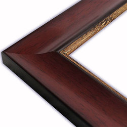 The Frame Guys - Wide Scooped Mahogany with Gold Lip Picture Frame-Solid Wood, 11x14 - *Wide Scooped Mahogany with Gold Lip Picture Frame-Solid Wood, 11x14