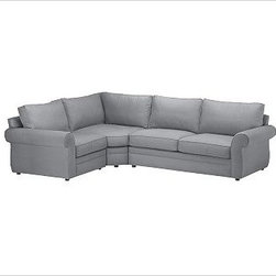 """Pearce Upholstered Right 3-Piece Corner Wedge Sectional, Down-Blend Wrap Cushion - The best-selling Pearce Sectional in everydaysuede is family/pet friendly and extremely durable. Distinguished by its soft matte fabric, generous rolled arms, hand-stitched seams and hardwood feet, this sectional has an inviting feel. 123"""" w x 92"""" d x 41"""" d x 38"""" h {{link path='pages/popups/pearce-pdf-fd3-p3.html' class='popup' width='720' height='800'}}View the dimension diagram for more information{{/link}}. {{link path='pages/popups/pearce-pdf-fd3-p5.html' class='popup' width='720' height='800'}}The fit & measuring guide should be read prior to placing your order{{/link}}. Extra-deep hypoallergenic down-blend wrap cushions have an extra-thick foam core. Proudly made in America, {{link path='/stylehouse/videos/videos/pbq_v36_rel.html?cm_sp=Video_PIP-_-PBQUALITY-_-SUTTER_STREET' class='popup' width='950' height='300'}}view video{{/link}}. For shipping and return information, click on the shipping tab."""