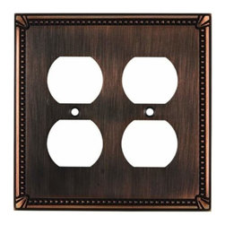 Richelieu Hardware - Richelieu  Electrical Quadruple Switch Plate 123X123mm Burnish Bronze - Richelieu  Electrical Quadruple Switch Plate 123X123mm Burnish Bronze