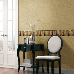 Meadowlark - An elegant entry hall with a neutral wallpaper and pretty wallpaper border as a backdrop to black furniture and white french doors