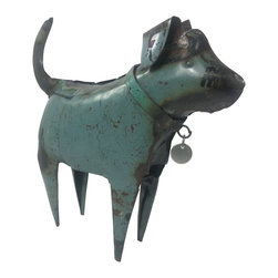 Recycled Metal Dog (Standing) Home Decor / Art - This adorable puppy is crafted from recycled metal, welded and shaped into a dog! Check out his little silver dog tag. You can bend the ears to add more motion and character. This is a great piece of home décor and a must have for any dog lover…