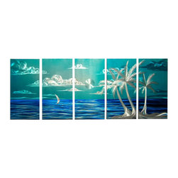 Matthew's Art Gallery - Metal Wall Modern Sculpture Landscape Island View - Name: Island View