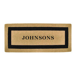 """Frontgate - Classic Border Full Name Monogrammed Mat - 22"""" X 36"""" - Stenciled in fade-resistant dyes. Constructed of 100% coir fibers. Protects your floors from mud, sand, water, and dirt. 1-1/2"""" thick. View complete care instructions. Framed in a sophisticated, bold border, our Classic Border Monogram Mat graces an entryway with your full last name. Constructed of 100% durable coir fibers, this handsome mat is stenciled in fade-resistant dyes for long-lasting luxury.  .  .  . .  . Please note: Personalized items are nonreturnable."""
