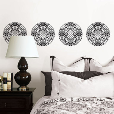 Nixon Dots WallPops by Jonathan Adler - Black and white wall decals with a mid-century mod appeal. Designer wall art by Jonathan Adler for WallPops