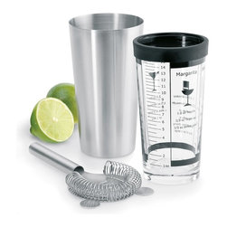 Blomus - Lounge Boston-Shaker Set - Includes strainer. Capacity: 0.50 liter. Made of stainless steel and glass. 1-Year manufacturer's defect warranty. 6.9 in. Dia. x 11.46 in. H