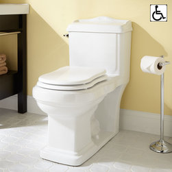 Scot Siphonic One-Piece Elongated Toilet - ADA Compliant - Enjoy style and convenience with the Scot Siphonic Toilet, which features beautiful lines and a decorative backsplash on the tank. This ADA-compliant toilet has an elongated bowl and a one-piece design that makes for easy cleaning.
