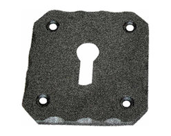 Renovators Supply - Escutcheons Black Wrought Iron Keyhole Cover Escutcheon 2 1/2 H - Keyhole Covers, Escutcheons. These keyhole escutcheons are crafted of wrought iron and feature our exclusive RSF coating that protects this item for years to come. Update furniture hardware with antique escutcheons for that Old Colonial charm. Affordably reclaim furniture and doors with replacement escutcheons. Easily hide existing damage and protect wood around keyholes. Escutcheon plate mounting screws included, sold individually.
