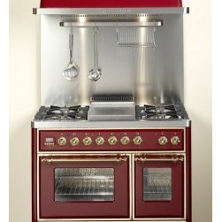 """Ilve - UMD100SMPMX 40"""" Freestanding Dual Fuel Range with 4 Semi-Sealed Burners  2.44 Cu - 40 Traditional-Style Dual Fuel Range with 4 Semi-Sealed Burners The range is equipped with a 244 cu ft Multi-Function European Convection Oven and an auxilliary 144 cu ft static oven with Rotisserie The range also features a Warming Drawer"""
