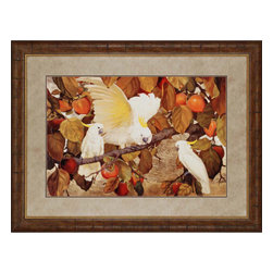 Paragon - Persimmons and Cockatoos - Framed Art - Each product is custom made upon order so there might be small variations from the picture displayed. No two pieces are exactly alike.