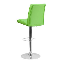 Flash Furniture - Flash Furniture Barstools Residential Barstools X-GG-NRG-090221-HC - This sleek dual purpose stool easily adjusts from counter to bar height. The simple design allows it to seamlessly accent any area in the home. Not only is this stool stylish, but very comfortable to provide you with an amazing sitting experience! The easy to clean vinyl upholstery is an added bonus when stool is used regularly. The height adjustable swivel seat adjusts from counter to bar height with the handle located below the seat. The chrome footrest supports your feet while also providing a contemporary chic design. [CH-122090-GRN-GG]