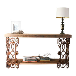 Doorman Designs - Piety Table-Sofa Table or Writing Desk Made From Reclaimed Wood and Wrought Iron - Made to order-This is a customizable console table or writing desk made from reclaimed New Orleans homes. The bottom shelf is removable and can be added to your order depending how you'd like to use the table. It is an additional $50. Please select Design option 'With Bottom Shelf'