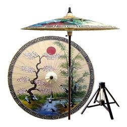 Oriental Unlimted - Asian Spring Patio Umbrella in Sand w Bamboo - Includes Bamboo stand. Handcrafted and hand-painted by master artisans. 100% Waterproof and extremely durable. Umbrella shade can be set at 2 different heights, 1 for maximum shade coverage and the other for a better view of the shade. An optional base, which secures the umbrella rod and shade against strong winds and rain. Patio umbrella rod and base is constructed of stained oak hardwood for a rich look and durable design. Umbrella shade is made of oil-treated cotton. Minimal assembly required. Canopy: 76 in. D x 84 in. HThis extraordinary and artistic patio umbrella depicts the migration of Oriental cranes during the spring season. Each season represents a different part of life with spring being synonymous with rebirth. Through rain and shine this umbrella will provide you with years of shelter for you and your family.