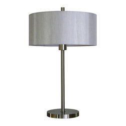 YOSEMITE HOME DECOR - 1 Light Portable Table Lamp in Satin Steel Finish with Toffee Crunch Shade - - 29 Inch Portable Table Lamp