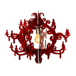 EcoFirstArt - Claire de Lune Chandelier (7 arms) Red - Sensuous curves in ruby red — could there be a more romantic ceiling centerpiece for your favorite setting? This rococo-inspired fixture is crafted ingeniously from recycled plastic to bring drama and dazzle to your decor.