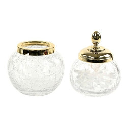 Windisch - 2 Piece Gold Accessory Set of Crackled Glass - Gold 2 piece bathroom accessory set from the Windisch Botijo Collection.