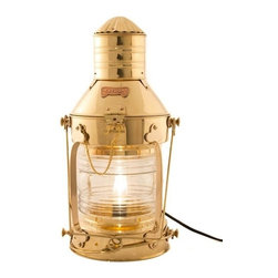 "Handcrafted Model Ships - Brass Ship Anchor Electric Lantern 20"" - Brass Nautical Lamp - This brass ship anchor electric lantern 20"" is a beautiful handcrafted production of heavy brass cast hardware. This lanterns provides fantastic emergency lighting or like their oil wick counterparts, these electric lanterns can provide historic and authentic nautical decor. There is a thick clear glass lens which shows an illuminated arc of 225 degrees. Each contains an interior corrugated silvered brass reflector. The oil burning pot and wick unit that was serviced from the bottom of the lanterns has now been converted into an electric fixture. There is room inside for a full size 40w light bulb. Some the applications that our electric lanterns have been used for include, wall lanterns, outdoor lanterns, ships wheel chandeliers, exterior lighting, ceiling fixtures and end table lamps. They also make perfect patio/deck electric lamps. You can also choose to mount them on your wall or post. The back is fitted with one thick cast brass mounting bracket which is riveted to the body of the lamp for extra support. All hardware is included. They are of -Solid brass construction, not to be confused with the cheaper painted or plated varieties. Ideal gifts for people who love nautical lamp memorabilia."