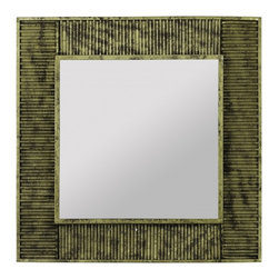 """Cooper Classics - Aras Black and Gold Rectangular Mirror - Antique Gold Finish with Black Undertones Frame Dimensions: 20""""W X 20""""H X 2.25""""D; Mirror Dimensions: 12.75""""W X 12.75""""H; Finish: Antique Gold with Black Undertones; Material: Metal; Beveled: No; Shape: Square; Included: Brackets, Ready to Hang Vertically or Horizontally"""