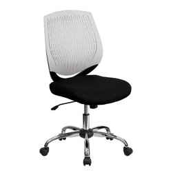 Flash Furniture - Mid-Back White Designer Back Task Chair with Chrome Base - This contemporary Designer Back Office Chair features a perforated plastic back and will keep you cool and comfortable throughout the day. This chair features a back tilt lock and pneumatic seat lift.