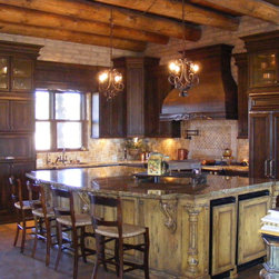 450 rustic wood columns Kitchen Cabinetry