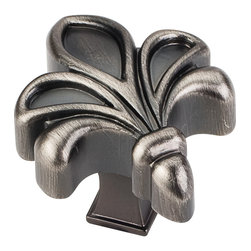 Jeffrey Alexander - 925BNBDL 1-3/4 inch Overall Length Zinc Die Cast Fleur De Lis Cabinet Knob - 1 3/4 inch Overall Length Zinc Die Cast Fleur De Lis Cabinet Knob. Packaged with one 8/32 inch x 1 1/8 inch screw. Finish: Brushed Pewter