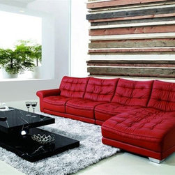 Refined 100% Italian Leather Sectional - Features: