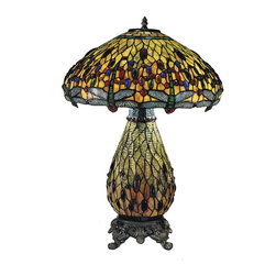 Dale Tiffany - Dale Tiffany TT100273 Jeweled Dragonfly Traditional Tiffany Table Lamp - In our Traditional Tiffany Collection, we use the same high quality copperfoil and leading technique that Louis Comport Tiffany perfected in his original creations. His love of flowers and nature reflects in many of our shades and bases. In many cases, colors and design were updated to coordinate with home decor that is popular today. Louis Comfort Tiffany was constantly innovating his many techniques and styles, and Dale Tiffany has continued that heritage.
