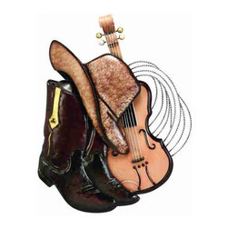UMA - Cowboy Boots, Hat & Guitar - Mosey on up to high style with this cowboy-inspired piece depicting cowboy hat, cowboy boots and guitar for a night on the trail