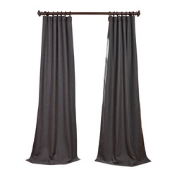 "Exclusive Fabrics & Furnishings, LLC - Poppyseed Heavy Faux Linen Curtain - 100% Polyester. 3"" Pole Pocket with Hook Belt & Back Tabs. Unlined. Imported. Weighted Hem. Dry Clean Only."