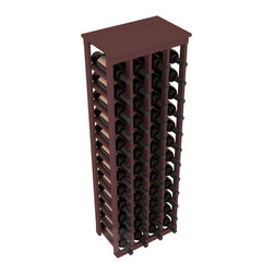 "48 Bottle Kitchen Wine Rack in Pine with Walnut Stain - Store 4 complete cases of wine in less than 20"" of wall space. Just over 4 feet tall, this narrow wine rack fits perfectly in hallways, closets and other ""catch-all"" spaces in your home or den. The solid wood top serves as a shelf or table top for added convenience and storage of nick-nacks."
