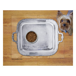 Sniff It Out Designer Pet Mat - Silver Tray Pet Food Mat, Small - Not a Metallic finish. Premium-quality clear vinyl mats uniquely designed to resemble beautiful art painted directly onto your floor. The smoothness of the vinyl allows for easy cleanup and lays perfectly flat. Sniff It Out Pet Mats make great gifts and will be a conversation piece that your friends and family won't stop talking about. Made in the USA.
