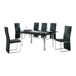 "American Eagle Furniture - 102DT & 124CH Extendable Black Glass Top & Vinyl Chairs Five Piece Dining Set - The 102DT & 124CH dining set will have you enjoying your meals in modern luxury. The dining table has a black tinted glass table top and a polished stainless steel legs. The table has a standard size of 57.5"" and can extend up to 71.5"" for those larger gatherings. The chairs come upholstered in a stunning black vinyl material with a ribbed design. High density foam is placed within the cushions for added comfort. The back of the chair extends down covering the legs with the front legs in a polished chrome finish. The dining set consist of a dining table and four chairs only."